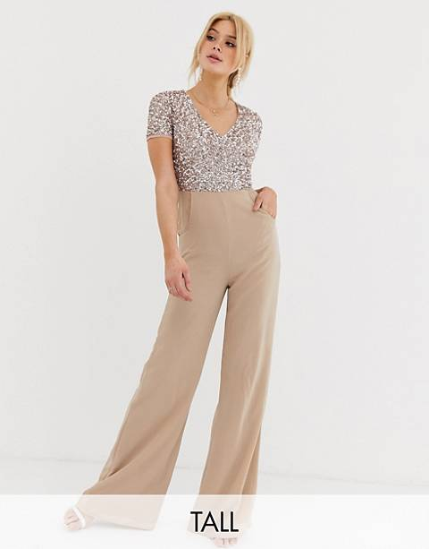Maya Tall v neck delicate sequin jumpsuit in taupe blush