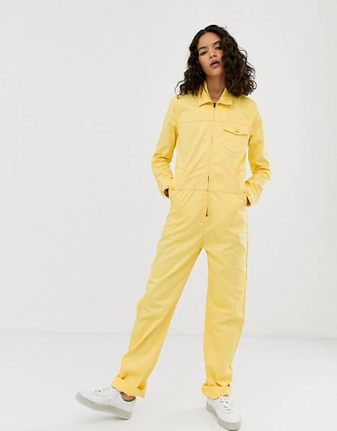 M.C. Overalls zip front boilersuit in sherbet yellow