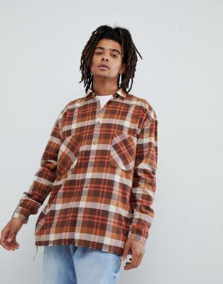 Mennace Checked Shirt In Brown