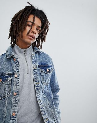 Mennace Denim Jacket In Acid Wash With Distressing