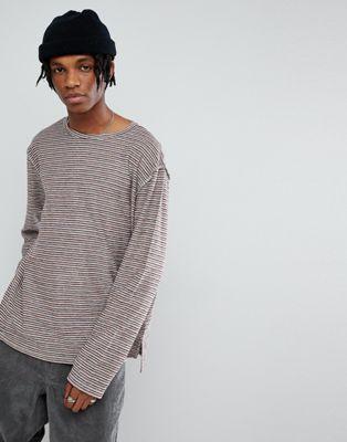 Image 1 of Mennace Long Sleeve T-Shirt In Stripe Loopback