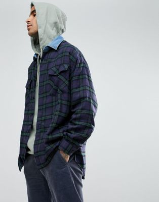 Mennace Oversized Check Shirt With Denim Collar
