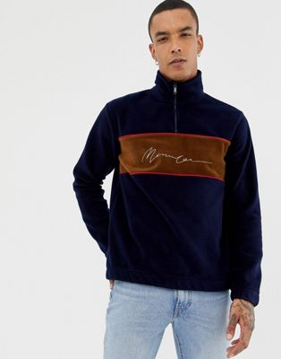 Mennace oversized half zip track jacket in polar fleece