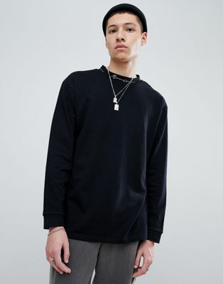 Mennace Oversized Long Sleeve T-Shirt In Black
