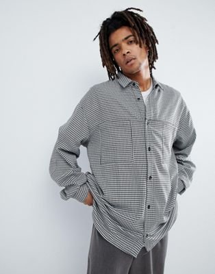 Mennace Oversized Shirt In White Gingham Print