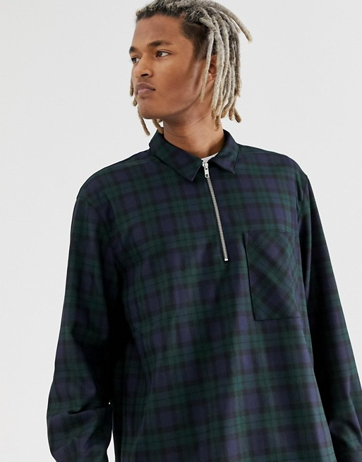 Mennace oversized shirt with half zip in check