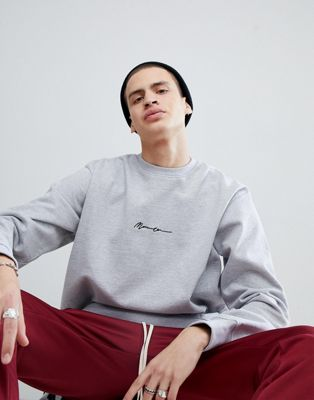 Mennace Oversized Signature Logo Sweat In Grey
