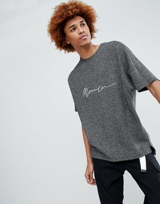 Mennace Oversized T-Shirt In Grey With Embroidered Logo