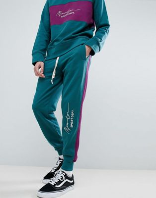 Mennace Retro Joggers In Teal With Logo