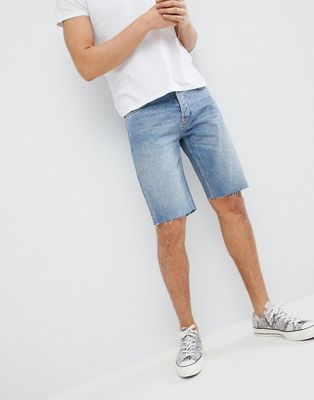 Mennace Ripped Denim Shorts In Vintage Blue