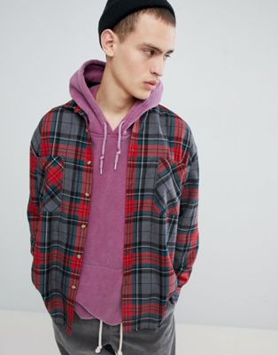 Mennace Shirt In Grey Check With Frayed Hem