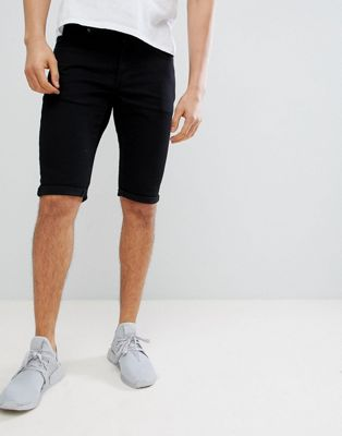 Mennace - Skinny denim short in zwart