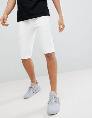 Mennace Skinny Denim Shorts In White