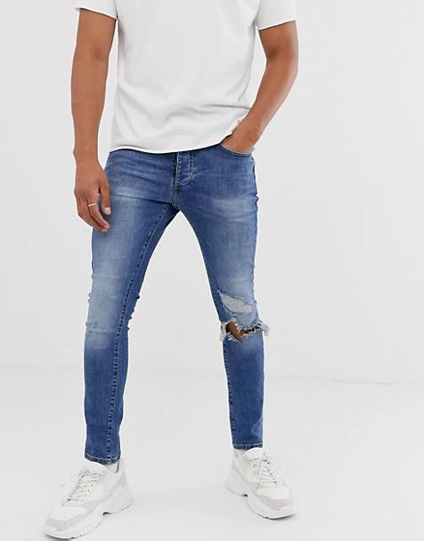 Mennace skinny rip jeans in blue