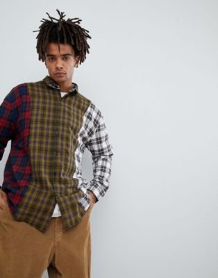 Mennace Spliced Checked Shirt In Yellow