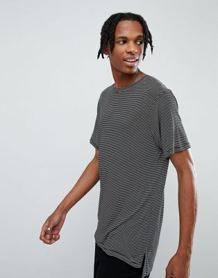 Mennace Striped T-Shirt With Stepped Hem