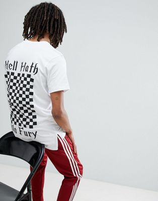 Mennace T-Shirt In White With Checkerboard Print