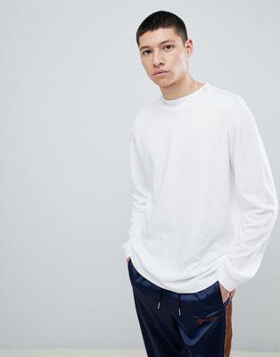 Mennace - T-shirt oversize à manches longues - Blanc