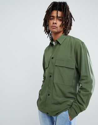 Mennace Utility Shirt In Green