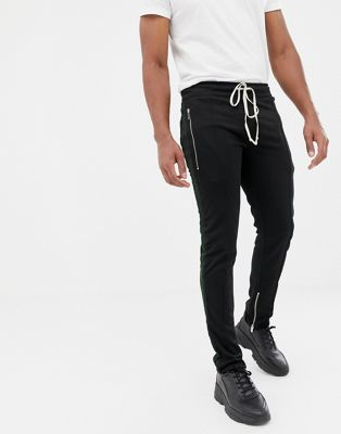 Mennace velvet skinny joggers with side stripe and zip detail