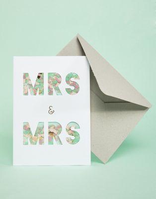 Meri Meri - Mrs & Mrs - Carte pour mariage à motif confettis