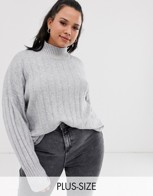 Micha Lounge Curve high neck jumper in rib knit co-ord