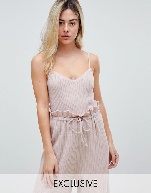 Image 1 of Micha Lounge knitted cami top in soft rib co-ord
