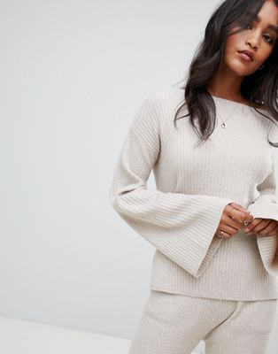 Micha Lounge Ribbed Off Shoulder Jumper With Wide Sleeves Co-Ord