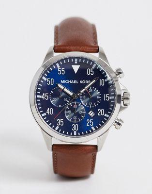 Afbeelding 1 van Michael Kors - MK8362 - Gage - Chronograaf horloge met bruin leren bandje