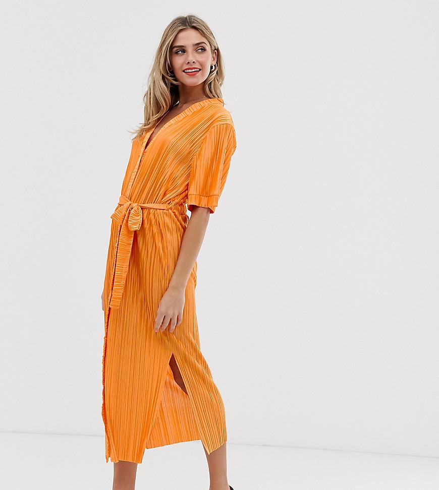 Midi-skjortekjole med bælte og sideslids fra Another Reason-Orange