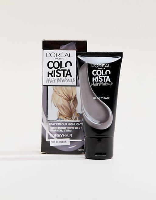Midlertidig hår makeup i Grey til blonde hårfarve fra L'Oreal Paris Colorista