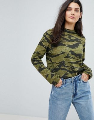 Mih Jeans Camo Print Oversized Jersey Top