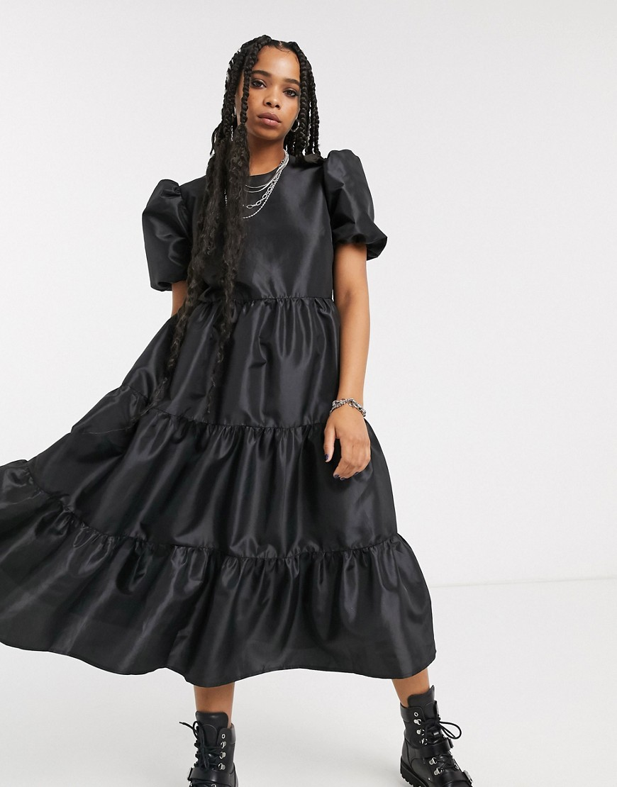 Milk It vintage oversized smock dress with balloon sleeves and open back in taffeta-Black - Milk It online sale
