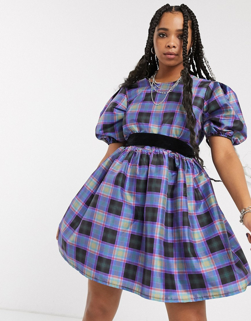 Milk It vintage oversized smock dress with velvet ribbon tie in plaid-Red - Milk It online sale