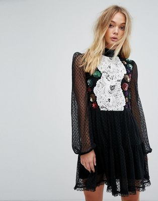 Millie Mackintosh Embellished Detail Mini Dress