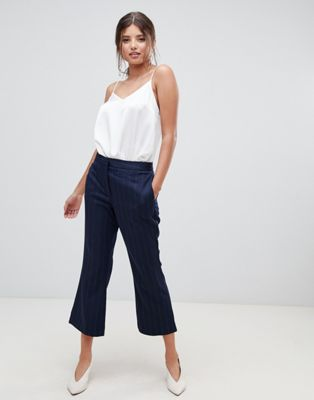 Millie Mackintosh pinstripe crop flare co-ord pants