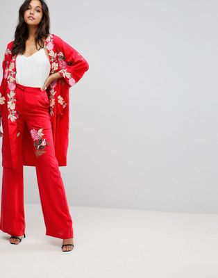 Millie Mackintosh Rose Embroidery Wide Leg Pants