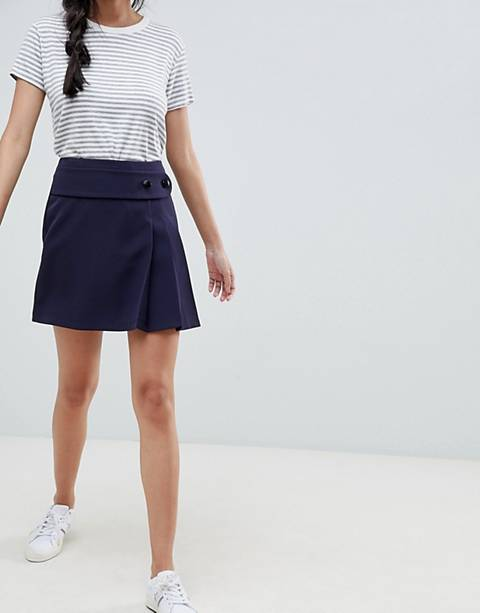 Minifalda escocesa con pliegues y cinturón incorporado de ASOS DESIGN