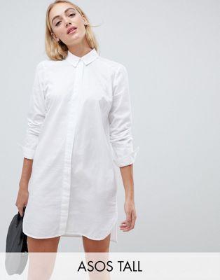 Minivestido camisero de algodón de ASOS DESIGN Tall