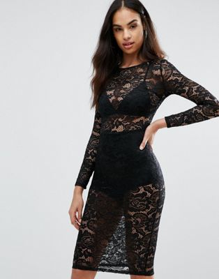Misha Collection Sheer Lace Pencil Dress