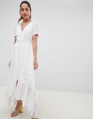 Miss Selfridge button through broderie maxi dress