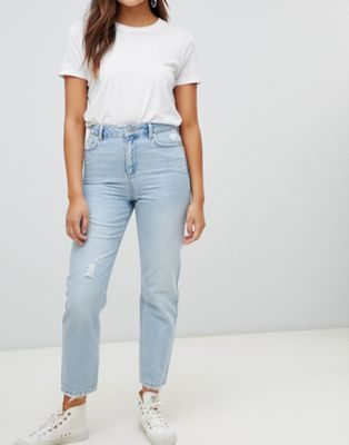 Miss Selfridge distressed mom jeans in light wash