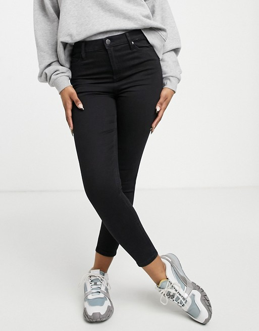 Miss Selfridge Emily high waist ankle grazer skinny jeans in black