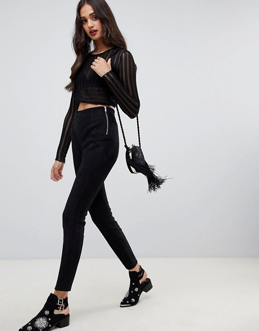 Image 1 of Miss Selfridge faux suede leggings in black