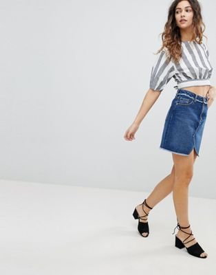 Miss Selfridge Fray Waist Denim Skirt