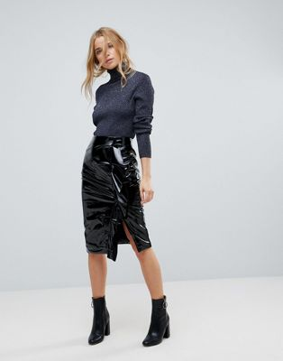 Miss Selfridge Gathered Vinyl Midi Skirt