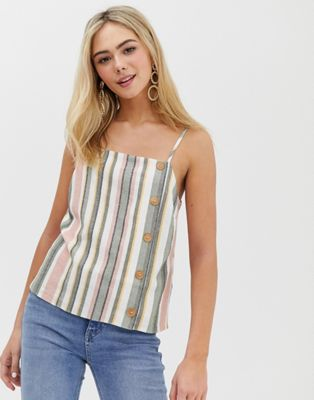 Image 1 of Miss Selfridge linen cami with buttons in multi stripe