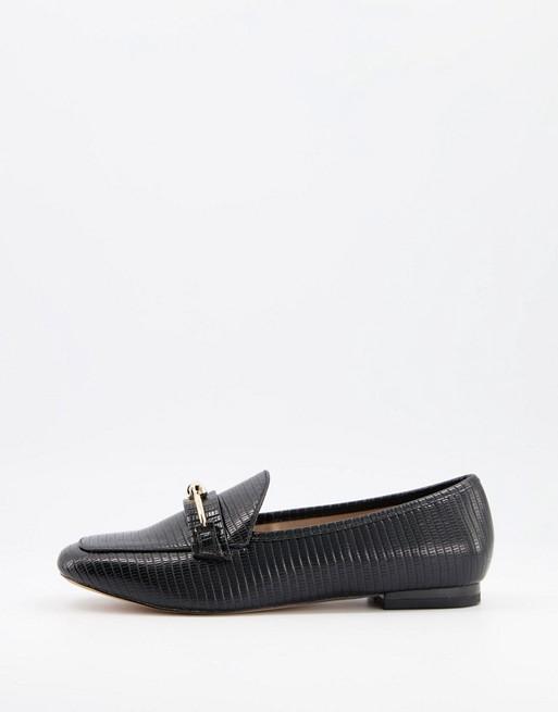 Miss Selfridge loafers with knot buckle detail in black
