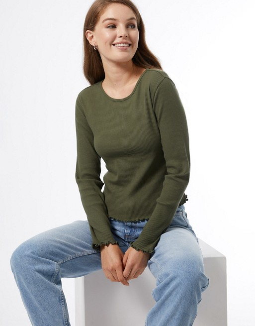 Miss Selfridge long sleeve ribbed crew neck t-shirt in khaki