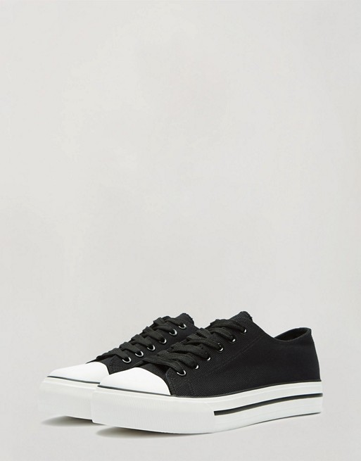 Miss Selfridge low top sneakers in black